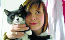 Daughter Amy with beloved cat Tom