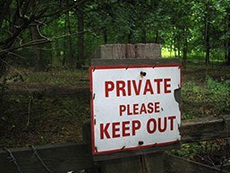 Private sign on shooting estate